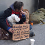 Hanging out and homeless loving his dog